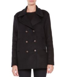 Tomas Maier - Black Compact Wool-blend Peacoat for Men - Lyst