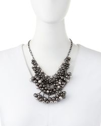Fragments | Black Pearly Hematite Beaded Bib Necklace | Lyst