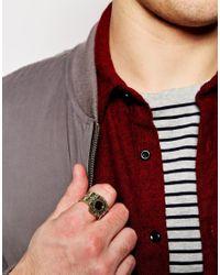 ASOS - Metallic Embellished Signet Ring for Men - Lyst
