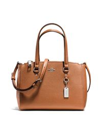 COACH | Brown Textured Leather Satchel | Lyst