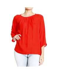 Etro | Red Top Crew-neck Wide Collar Or Wide Neck Silk Sleeve 3/4 | Lyst