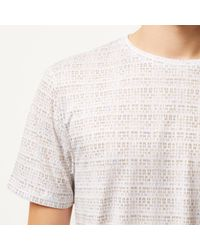 River Island - White Printed Short Sleeve T-shirt for Men - Lyst