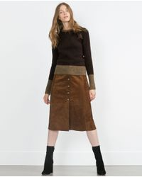 Zara | Brown Knit Sweater | Lyst