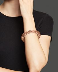 Roberto Coin | Pink 18k Rose Gold Plated Sterling Silver Skyline Flat Bangle | Lyst