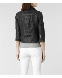 AllSaints - Black Cropped Cargo Leather Biker Jacket - Lyst