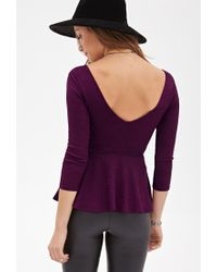 Forever 21 | Purple Ornate Matelassé Peplum Top | Lyst