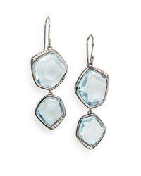 Ippolita - Metallic Diamond, Blue Topaz & Sterling Silver Earrings - Lyst
