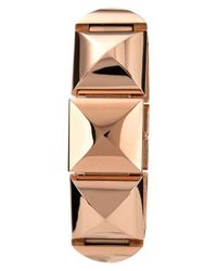 Vince Camuto | Pink Womens Rose Goldtone Pyramid Covered Link Bracelet 25x22mm Vc | Lyst