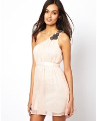 AX Paris - Natural One Shoulder Prom Dress - Lyst