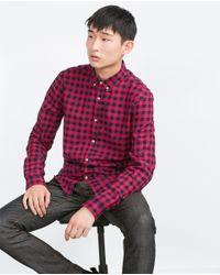 Zara | Black Check Organic Cotton Shirt for Men | Lyst