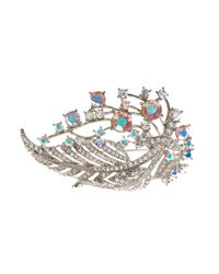 Brooks Brothers | Metallic Crystal Feather Brooch | Lyst