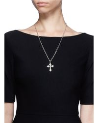 CZ by Kenneth Jay Lane - White Crystal Gemstone Cross Necklace - Lyst