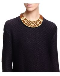 Tory Burch - Metallic Aislin Leather Collar Necklace - Lyst