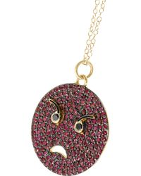 Alison Lou - Metallic Angry 14-Karat Gold, Ruby, Diamond And Enamel Necklace - Lyst