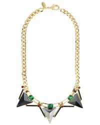 Iosselliani | Metallic Gold Plated Swarovski Crystal Necklace | Lyst