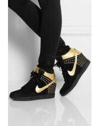 Nike - Black Dunk Sky Hi Suede and Metallic Leather Wedge Sneakers - Lyst