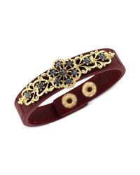 Jessica Simpson - Metallic Goldtone Black Diamond Stone Burgundy Bracelet - Lyst