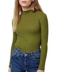 TOPSHOP - Green Ribbed Long Sleeve Top - Lyst