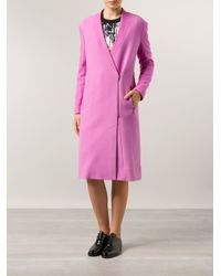 Tibi - Pink Boucle Long Coat - Lyst