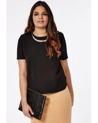 Missguided - Plus Size Necklace Trim Top Black - Lyst