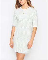 ASOS - Gray Stripe Tunic Dress - Lyst