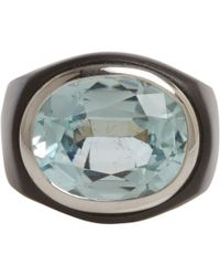 Sidney Garber | Blue Tourmaline White Gold Black Ionized Steel Ring | Lyst