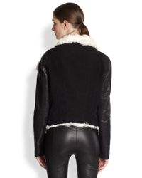 Helmut Lang - Black Drapedcollar Shearling Biker Jacket - Lyst