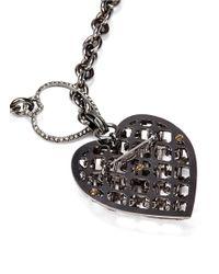 Lanvin - Pink Crystal Embellished Heart Pendant Necklace - Lyst