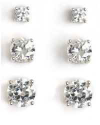 Lord & Taylor | Metallic Three-pair Platinum-plated Cubic Zirconia Earrings | Lyst