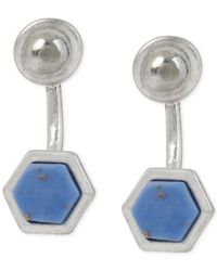 Kenneth Cole | Silver-tone Semiprecious Blue Geometric Stone Front To Back Earrings | Lyst
