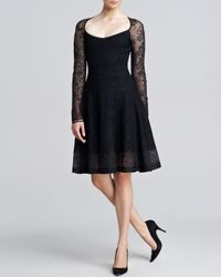 Zac Posen - Black Longsleeve Lacejacquard Flounce Dress Small - Lyst