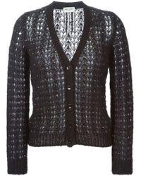 Saint Laurent - Blue Loose Knit Cardigan - Lyst
