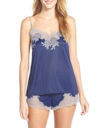 Natori | Blue 'boudoir' Lace Trim Shorts Pajamas | Lyst
