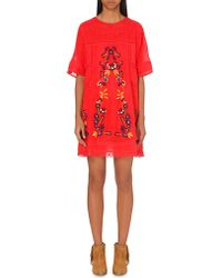 Free People | Floral-embroidered Cotton Dress | Lyst