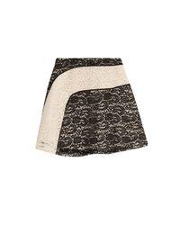Carven | Black Lace Panel Skirt | Lyst