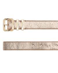 Jimmy Choo - Pink Blitz Nude Metallic Crinkled Lambskin Belt - Lyst