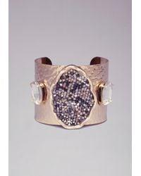 Bebe | Metallic Caviar Stone Crystal Cuff | Lyst