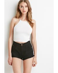 Forever 21 - Black Crochet-trimmed Denim Shorts - Lyst