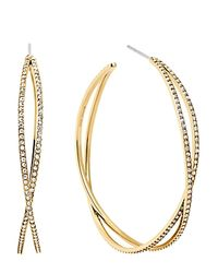 Michael Kors | Pink Pavé Criss Cross Hoop Earrings | Lyst