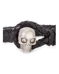 Alexander McQueen | Black Braided Leather Bracelet for Men | Lyst