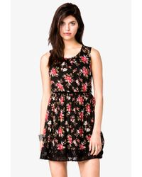 Forever 21 - Multicolor Rose Print Dress W Skinny Belt - Lyst