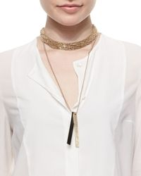 Brunello Cucinelli | Multicolor Two-Tone Tag Beaded Necklace | Lyst