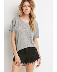 Forever 21 | Gray Curved-hem Textured Pocket Tee | Lyst