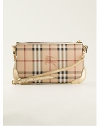 Lyst - Burberry Haymarket Check Shoulder Bag in Natural 004937ec68d14