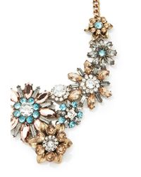 Forever 21 - Metallic Floral Iridescent Faux Gemstone Necklace - Lyst