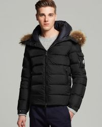 e29b9343100b Lyst - Moncler Byron Down Jacket With Fur Hood in Black for Men