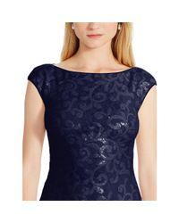 Ralph Lauren - Blue Sequined-lace Cutout Gown - Lyst