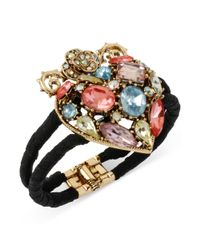 Betsey Johnson | Black Goldtone Meshwrapped Crystal Heart Hinged Bangle Bracelet | Lyst