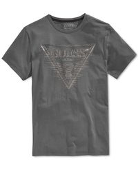 Guess - Metallic Men's Linear Logo Graphic-print T-shirt for Men - Lyst