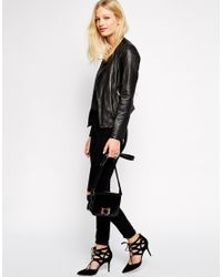Muubaa - Black Bhira Crochet Leather Biker Jacket - Lyst